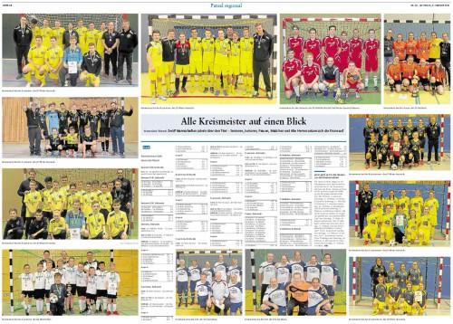 Die Kreismeister beim Futsal auf einer Doppelseite der Rhein-Zeitung